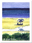 original watercolor painting beach umbrella seascape dollhouse
