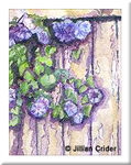 Morning Glories glory original miniature painting watercolor dollhouse