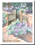 old garden gate original watercolor painting miniature dollhouse 1:12 scale