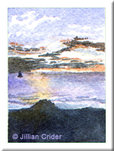 beach sunset Grange ocean seascape original watercolor painting miniature dollhouse 1:12 scale