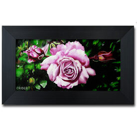 Framed acrylic original painting pink roses on canvas SFA