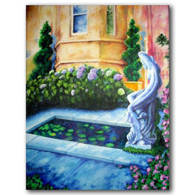 Original acrylic painting on canvas nude garden statue pond tuscan artistjillian
