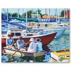 SFA original acrylic painting Xanadu yachts sailing rowboat club Port Adelaide canvas art