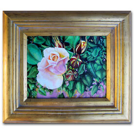 Original acrylic painting Late Bloomers Roses rosebuds framed gold artistjillian