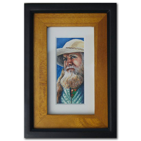 Original miniature painting watercolor western cowboy man old vintage beard Buffalo hunter
