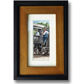 Fading Past 0702 Old Steam Train original painting miniature Hillsboro North Carolina